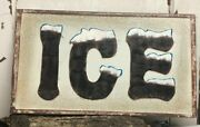 Ice Sign Embossed, Distressed 24 X 14 Metal Sign Farmhouse Kitchen Garage