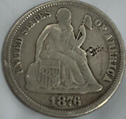 1876-cc Seated Liberty Silver Dime Carson City Mint Free Shipping With 5 Items