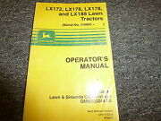 John Deere Lx 172 176 178 And Lx188 Lawn Tractor Owner Operator Manual Omm123244