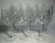 7 1/2 Tall Water / Wine Goblet Etched Chintz Pattern 12 Oz. Set Of 6