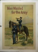 C.1910 Men Wanted For The Army By Michael P. Whalen Recruiting Poster Original