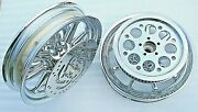 Harley Chrome 9 Spke Wheels Street Glide Turing W/rotors Pulley 00-08 Outright