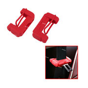 2x Car Safety Seat Belt Buckle Clip Red Anti-scratch Cover Silicone Accessories