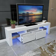 White 63 High Gloss Tv Stand Unit Cabinet Console Led Shelve 2 Drawer Furniture