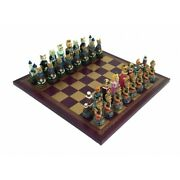 Dogs Vs Cats Unique Handpainted Chess With Leatherette Chessboard