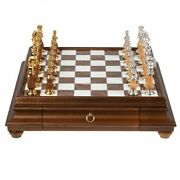 Solid Gold Andamp Silver Chess Set With Luxurious Wood-alabaster Game Board