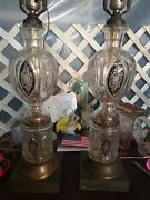 34 Ruby Cut To Clear 1940s Crystal Antique Table Lamps