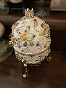 Egg With Bee Trinket Box Limited Edition By Keren Kopal With Austrian Crystals