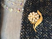 Sarah Coventry Signed Vintage Faux Pearl Flower Brooch