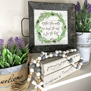 New Farmhouse Rustic Tray Galvanized Metal Home Decor Winter Holiday Gift
