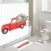 Red Truck And Flowers Shower Curtain Toilet Cover Rug Mat Contour Rug Set