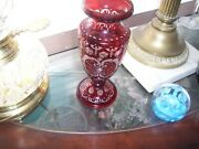 Bohemian Cut To Clear Ruby Red Large 8 5/8 In Crystal Glass Vaseandnbsp