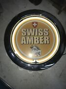 Swiss Army Amber Neon Clock Silver Bottle Cap Design Plug In Cow