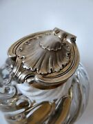 Superb Antique Odiot Paris Sterling Silver And Baccarat Crystal Inkwell C. 1880