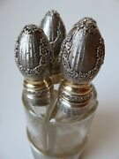 Antique French Guilloche Sterling Silver Vermeil Perfume Set 4 Crystal Bottles