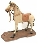 """Antique Victorian Wooden Skin Pull Along Horse Toy On Wheels 9.5"""" C.1890"""
