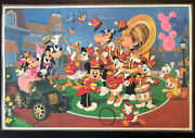 Rare 1986 Disneyland Theme Park Map And Mickey Mouse Band Table Top Place Mat