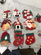 Kitschy 70s Christmas Tree Ornaments Handmade Fabric, Quilters, Crafters, Lot 19
