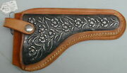 Antique Silver And Leather Hand Engraved Holster Mexican Silver Overlay Very Rare