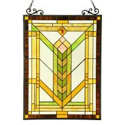Stained Glass Style Window Panels Mission Arts And Crafts 18 X 24 Pair