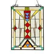Stained Glass Style Window Panels Modern Mission Design 17.5 X 25 Pair