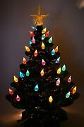 Vintage Ceramic Christmas Tree 14 Inches Tall 44 Lights No Chips Or Cracks