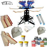 6 Color Screen Printing Kit Adjustable Diy Shirt Press Ink Machine And Squeegee