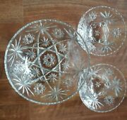 Vintage Anchor Hocking Star Of David Eapc Glass 10.5serving And 2 Footed Bowls 6