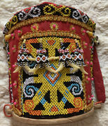 Rare Mini Dayak Tribe Borneo Child Baby Back Carrier Woven Beaded Decoration