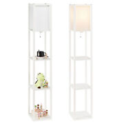 Modern Accent Light Wooden Floor Lamp With Storage Shelves For Living Room New