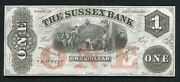 1800's 1 The Sussex Bank Newton, Nj Obsolete Remainder Note Gem Uncirculated