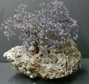 Purple Beaded Tree Hanging On Large Iron Pyrite Cubic Cluster Specimen
