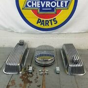 Chevy Bbc 15 Finned Ac Valve Covers Engine Dress Up Kit Pcv Breathers 454 Crate
