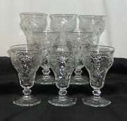 8 Mckee Rock Crystal Crystal 5 1/2 Low Footed Water Goblets