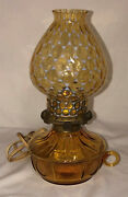 Fostoria Coin Frosted Amber 10 Electric Courting Lamp W/handle