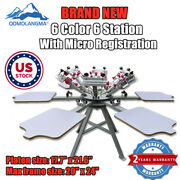 Us Stock 6 Color 6 Station Screen Press Printing Machine With Micro Registration