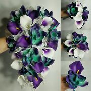 Purple Ivory Calla Lily Orchid Bridal Wedding Bouquet Accessories