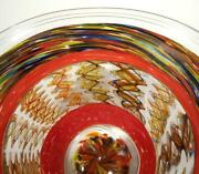 Hand Blown Glass Bowl, Dirwood, Complex Incalmo Cane And Gold Sparkles, N3476