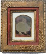 Antique 19th Century Full Plate Hand Colored Tintype Baby Boy Period Gold Frame