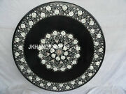 36 Black Marble Coffee Table Top Mother Of Pearl Floral Inlaid Hallway Decor