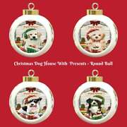 Christmas Dog Cat With Presents Round Ball Christmas Tree Ornament