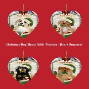 Christmas Dog Cat With Presents Heart Christmas Tree Ornament