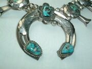 Vintage Old Pawn Sterling Silver Turquoise Squash Blossom Necklace 237 Grams
