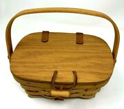 Longaberger Childs Purse Picnic Warm Brown Basket Small Signed And Dated 2002