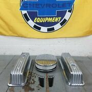 Sbc Chevy 350 Finned Center Bolt Vortec Aluminum Valve Covers And Air Cleaner Kit