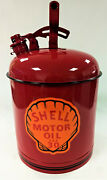 Beautifully Restored Shell Antique Motor Oil Can W Decals Handle Flip Lid Mt