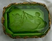 Antique Green Glass Sculpture With Gold Band Woman Guitar Angel