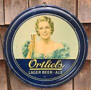 Rare Vintage 1939 Ortlieb's Lager Beer Ale Round Tin Pub Bar Advertising Sign