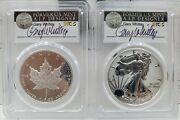 2019-w Silver Eagle Pcgs Pr70 Pride Of 2 Nations Canad Fdi Set Whitley Signed