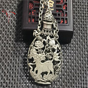 China Old Tibetan Silver Copper Hollow Engraving Snuff Bottle Necklace Pendant